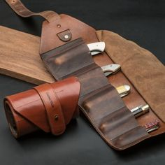 Leather Pocket Knife Roll by Garrett Wade Leather Roll, Leather Tooling, Leather Carving, Brown Leather, Trench Knife, Tool Roll, Hard Metal, Knife Sheath, Bracelet Cuir
