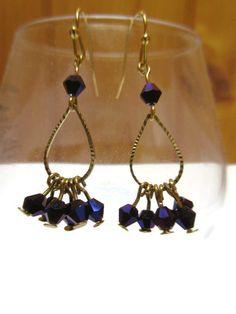 Teardrop earrings / Dainty earrings / Purple drop earrings /