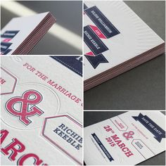 3 Colour Letterpress Invitations.  Printed on Triplex 700gsm Colorplan Stock.  Design by Client.  Printed by The Hunter Press.