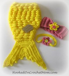 Baby Mermaid Tail Photo Prop Outfit with Bikini Top and Headband Yellow 0-3 Months Photography Costume Handmade Crochet