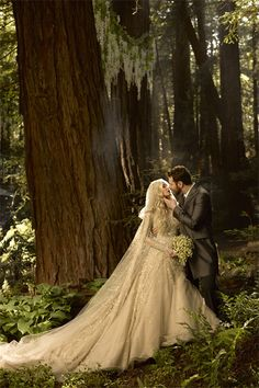 Sean Parker, 33, wed singer-songwriter Alexandra Lenas. The bride wore a sparkling champagne gown by designer Elie Saab. ~~Get your custom designed wedding gown at www.theonecouture.com