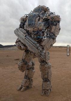 mech: I want this. Cause of reasons. Prototype mech: I want this. Cause of reasons. Robot Concept Art, Armor Concept, Cyberpunk, Futuristic Armour, Arte Robot, Mekka, Future Weapons, Cool Robots, Sci Fi Armor