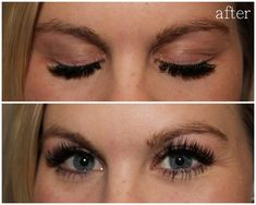 individual lash extensions | after with NO mascara on… except the bottom lashes }