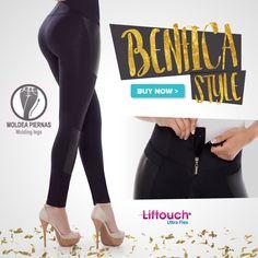 Quieres un look super estilizado pero también sobrio y elegante? Entonces El modelo Benfica es para ti! Sus detalles en negro brillante harán que luzcas piernas hermosas y esbeltas donde quiera que vayas!   Los únicos pantalones con faja interna de costuras invisibles que aumentan tus glúteos!
