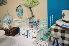 Bowtie and Mustache blue and brown baby shower | CatchMyParty.com