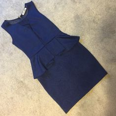 Navy blue- sexy, peplum, sheer back dress Navy blue, peplum style, sheer back, and mesh in front as well, zipper up back, no size, I would say medium/ large, size 6 like, worn twice and just sitting in closet, too nice to not be worn! Mystic Dresses Mini