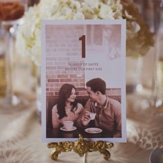 This couple incorporated fun facts about their relationship into their table numbers. Kat Gill from Katch Studios.