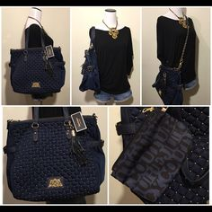 """NWT Stud Quilted Tote w/ Gold Chain, Tassle, Pouch JUICY COUTURE  Quilted Zip Top Tote - Navy Blue Style #: YHRU3362  Brand New with Tags +  GUARANTEED AUTHENTIC!  Imported Zipper closure, Leather trim, side buckles and pockets. Oversized tassel keychain not included  Detachable chain crossbody strap Removable interior pouch with a vachetta leather strap. Material: Nylon. Polyester lining  14.5""""L x 7""""W x 12""""H Handle drop 9"""", Handle length 19"""", Shoulder drop 17"""", Shoulder strap length 36""""…"""