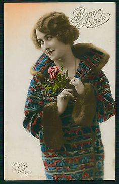 Pretty Deco Romantic Lady Woman Glamour Tinted Original Old 1920s Photo Postcard | eBay