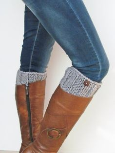 Knitted Boot Cuffs Gray Leg Warmers With Wooden Buttons  Boot Toppers For Women or Teens