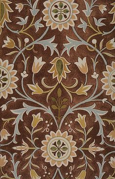 Detail of a watercolour design for the Little Flower carpet showing a portion of the central medallion, by William Morris