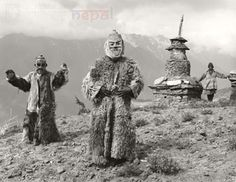 Nepali dancers  Vintage Nepal ~ Rare Old Pictures, Videos and Arts of Nepal Liked · about an hour ago  Ritual mask dancers in fur coat  Date Photographed: 1985 | Humla, western Nepal | Photographer: Kevin Bubriski |