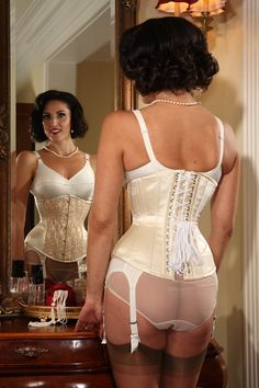 tight laced corset and sheer panties
