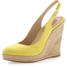 Schutz Halter Wedge Espadrille, Yellow ($43) ❤ liked on Polyvore featuring shoes, sandals, wedges, platform wedge shoes, platform wedge sandals, espadrille sandals, yellow espadrilles and wedge espadrilles