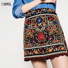cbda55970ec0 US $26.99 |Aliexpress.com : Buy ORMELL Women Vintage Totem Floral  Embroidery Skirt Sweet Mini A Line Skirts Female European Fashion Casual  Office Wear from ...
