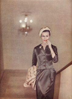 brown satin suit, 1955