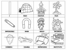 COLOREA TUS DIBUJOS: Laminas con dibujos para aprender palabras y colorear con letra: I