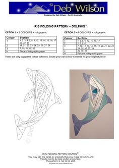 Dolphin Iris Folding pattern  visit me at My Personal blog: http://stampingwithbibiana.blogspot.com/