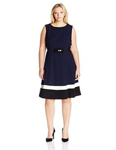 Calvin Klein Women's Plus-Size Fit-And-Flare Color-Block with Belted Waist