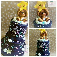 Theme - Twinkle, Twinkle Little Star. 2nd Baby Showers, Baby Girl Shower Themes, Baby Shower Fall, Baby Shower Gender Reveal, Baby Shower Cakes, Baby Boy Shower, Baby Boys, Baby Reveal Cakes, Cresent Moon