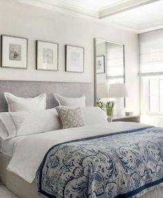 Soothing greige bedroom - Home - Bedroom Art Above Bed, Gray Bedroom, Trendy Bedroom, Modern Bedroom, Master Bedroom, Mirror Bedroom, Bedroom Rustic, Bedroom Wallpaper, Contemporary Bedroom