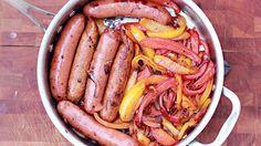 Chicken Sausage and Peppers - QueRicaVida.com