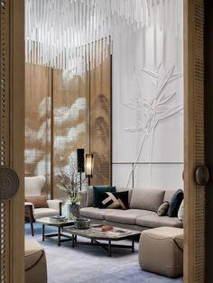 Lobby Interior, Flat Interior, Interior Garden, Modern Interior Design, Interior Architecture, Floor Design, Wall Design, Sofa Furniture, Furniture Design