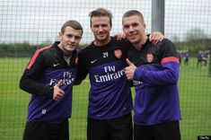 david beckham // jack wilshere // lukas podolski // arsenal training
