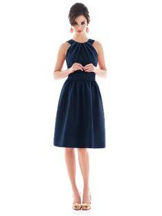 halter dress in midnight blue