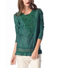 Look at this #zulilyfind! Green Lace Three-Quarter Sleeve Top #zulilyfinds