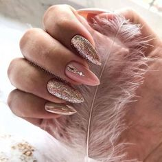 natural square and almond nails design summer short nails - . natural square and almond nails design summer short nails - - Manicure Nail Designs, Fall Nail Art Designs, Short Nail Designs, Gold Nail Art, Rose Gold Nails, Glitter Nails, Pink Glitter, Almond Nails Designs Summer, Cute Almond Nails