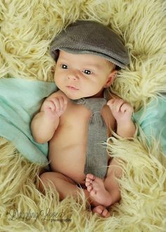 Newborn photo prop, gray newborn hat, infant photo prop necktie and newsboy hat, newborn flat cap, newborn boy prop - made to order