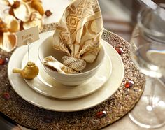 Small details, big glam: Jeweled charger, beaded napkin ring, place card