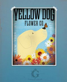 Yellow Dog Labrador retriever flower company original graphic illustration giclee archival print 8 x 10 by stephen fowler