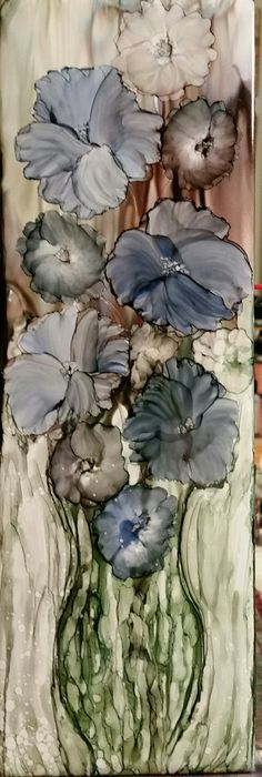 Soft petal flowers in alcohol ink on 12x4 ceramic tile by Tina