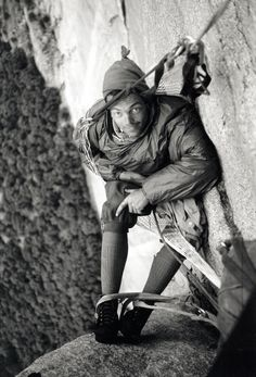 Old School - Tom Frost during the second ascent of El Cap's Dihedral Wall in 1964 (photo: Royal Robbins).