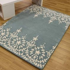 Indian wool rugs Guild Rug in Blue, order here | Land of Rugs
