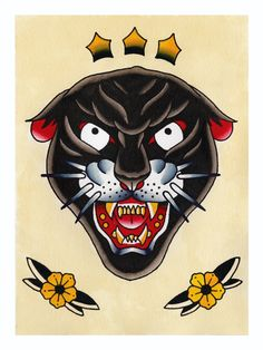 Traditional Tattoo Flash Panther Head Canvas Print by Knuckletank Illustration