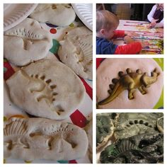 Make these dinosaur fossils with kids out of 3 kitchen ingredients and then paint them to make them more realistic or leave them natural. Preschool Science Activities, Dinosaur Activities, Dinosaur Crafts, Dinosaur Fossils, Dinosaur Party, Science For Kids, Preschool Learning, Toddler Activities, Dinosaur Books For Kids