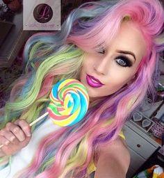 40 amazing ideas for Mermaid Hair - Hair Style 2019 Dye My Hair, New Hair, Cool Hair Dyed, Pelo Multicolor, Coloured Hair, Unicorn Hair, Real Unicorn, Cool Hair Color, Gorgeous Hair