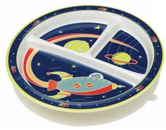 Divided Suction Plate - OuterSpace #babyfood #toddlerlunch