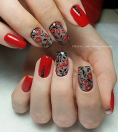 nagels ontwerpen voor de winter van 2019 - Beauty-Tipps -Nieuwste nagels ontwerpen voor de winter van 2019 - Beauty-Tipps - Summer wedding red nails - 20 New Nail Art Designs Latest Nail Designs, Nail Art Designs, Nails Design, Nail Art Flowers Designs, Red Nails, Hair And Nails, Cute Nails, Pretty Nails, Black Nail Art