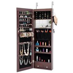 FirsTime & Co. 43 in. Rustic Arch Jewelry Armoire-81007 - The Home Depot Wall Mounted Jewelry Armoire, Mirror Jewellery Cabinet, Wall Mounted Mirror, Jewellery Storage, Led Lighting Home, Storage Mirror, Locker Storage, Mirror Cabinets, Luxury Interior