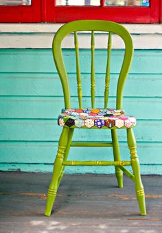 How to Decoupage furniture to loo like a quilt with scrapbook paper also, I…