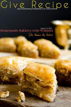 Homemade baklava with loads of walnuts. The layers are so thin and crispy! | giverecipe.com | #baklava #turkish