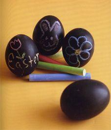 chalk board paint, plastic Easter eggs.. Great kindergarten Art activity