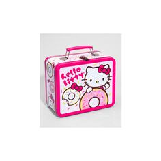 Hello Kitty Donut Diner Lunchbox ($7.99) ❤ liked on Polyvore featuring home, kitchen & dining, food storage containers, bags, hello kitty, at homekitchen & dining, extras, hello kitty box, hello kitty lunchbox and metal lunchbox