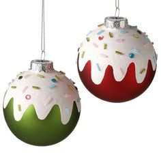 Sprinkles Ball Ornament - this would make a great DIY. You could even do this on ceramic ornaments. Ornament Crafts, Diy Christmas Ornaments, Christmas Projects, Holiday Crafts, Christmas Decorations, Ball Ornaments, Christmas Ideas, Noel Christmas, Christmas Balls
