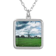 A Dutch Windmill Silver Plated Necklace - jewelry jewellery unique special diy gift present