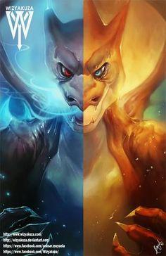 Mega Charizard X vs. Mega Charizard Y Pokemon Go, Pokemon Legal, Pokemon Fan Art, Pokemon Fusion, Fire Pokemon, Pokemon Mignon, Photo Pokémon, Mega Charizard, Pokemon Pictures